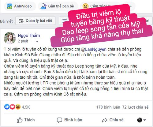 Chia sẻ của người bệnh sau khi chữa viêm lộ tuyến tại phòng khám Kinh Đô